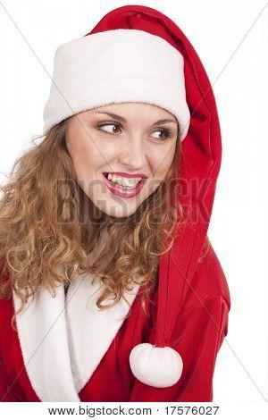 Coqueta Santa Claus sobre fondo blanco