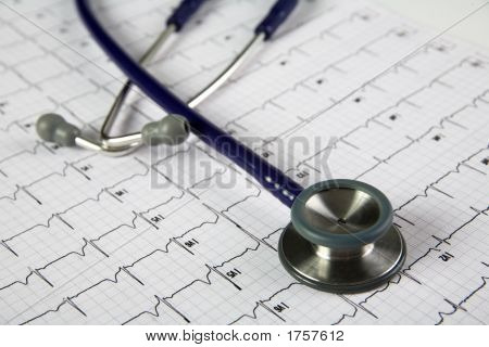 Stethoscope On Top Of An Ekg Horizontal