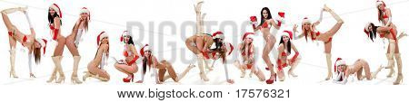 Collage of sexy Santas girls in several different poses isolated on white