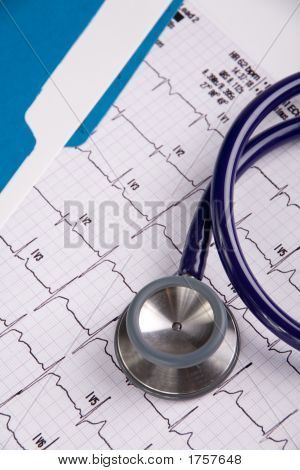 Doctors Stethoscope And Ekg With File Folder