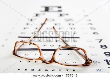Eye Glasses Sitting On Top Of An Exam Chart
