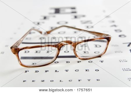 Eye Glasses Sittinng Right Side Up Over Exam Chart