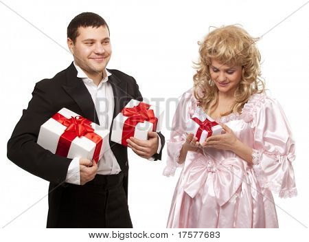 Victorian couple with gift boxes. Isolated over white background