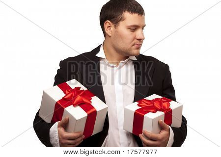 Gentleman with gift boxes. Isolated over white background