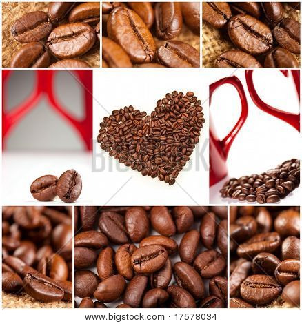 Collage of Fragrant fried coffee beans