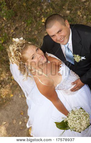 Vista superior de novios en la boda feliz caminar mirando hacia arriba