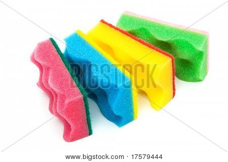 red, yellow, green and blue sponge on a white background