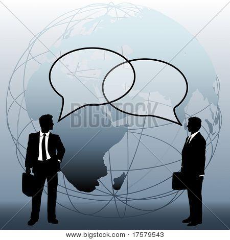International or global world corporation business people talk in speech bubbles