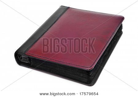 leather photo album on a white background