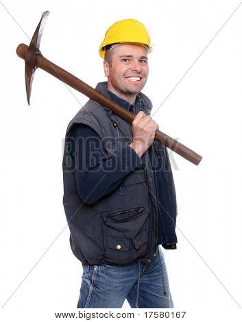 Happy construction worker going to work with his pick axe.