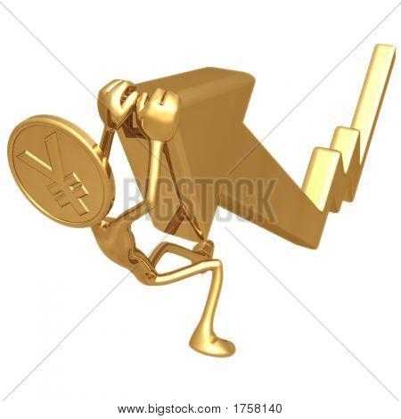Yen moneda de oro colgando en a tabla de crecimiento mercado flecha