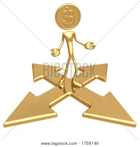 Dollar Gold Coin At A Choice Of Direction
