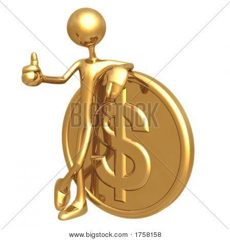 Thumbs Up Golden Dollar Coin