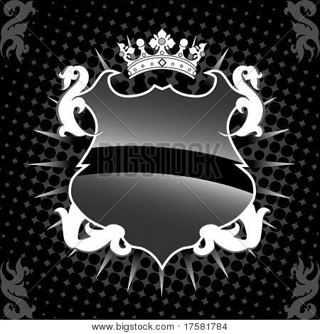 Shield and crown (vector)
