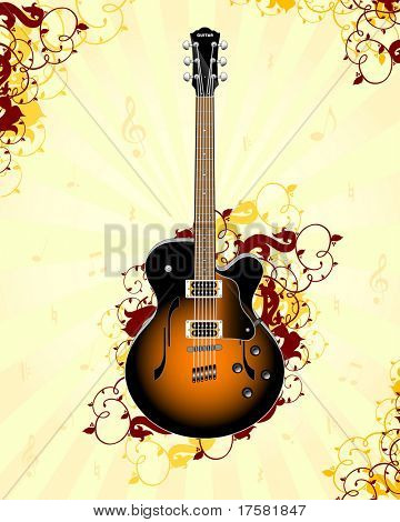 Guitar on a floral background (vector)