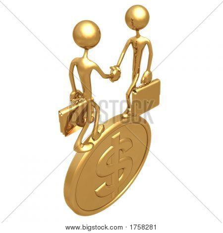 Handshake auf Dollar-Goldmünze