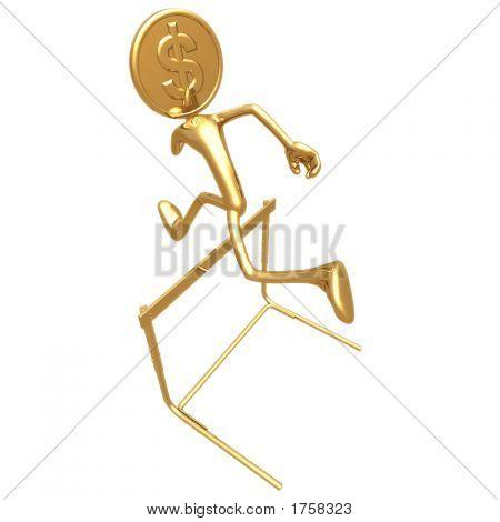 Oro dólar moneda saltando cañizo