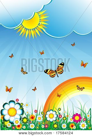 Sun, clouds, butterflies, flowers and rainbow