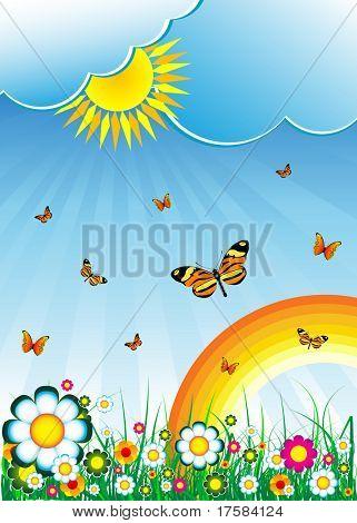 Sun, clouds, butterflies, flowers and rainbow