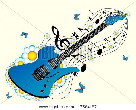 Blue guitar and music
