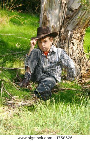 Outback Boy In Rugged Bushland