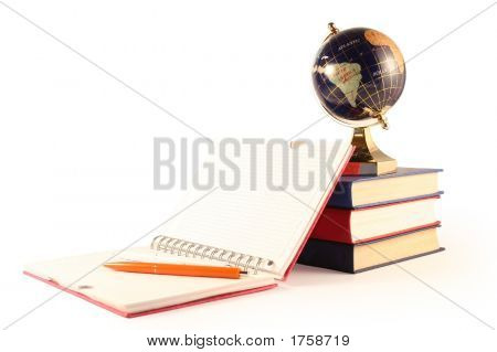 The Globe, Books And A Writing-Book Isolated On White