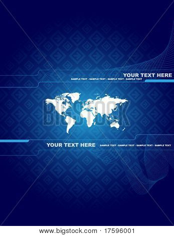 Abstract background with world map and place for your text