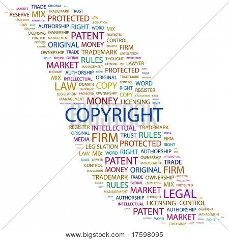 COPYRIGHT. Word collage on white background. Vector illustration. Illustration with different association terms.