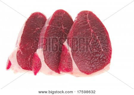 butchery : fresh raw beef lamb big fillet mignon ready to cooking isolated over white background
