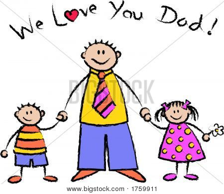 We Love You Dad Light Skin Tone Family - Vector Eps