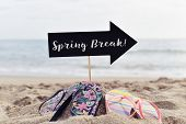 closeup of a black signboard in the shape of an arrow sign with the text spring break written in it  poster