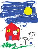 stock photo of happy family  - A vector child like drawing of a happy family in front of their house and a blue sky - JPG