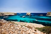 Blug lagoon on a warm summer day on Comino Island, Malta