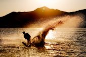 image of watersports  - Silhouette of a water skier - JPG