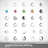 Loading, Streaming, Buffering, Play, Go | Set of 30 Vector Icons