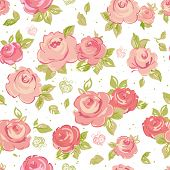 image of pink rose  - Elegance Seamless wallpaper pattern with of pink roses on floral background - JPG