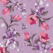 Elegance Seamless wallpaper pattern with of pink flowers on violet background, floral vector illustr