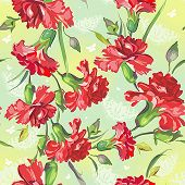 Image of red carnations on green background with butterflies. Floral vintage seamless pattern.