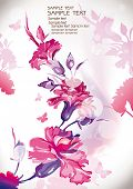 Photo of vector floral background with place for your text. Abstract classical congratulation card.