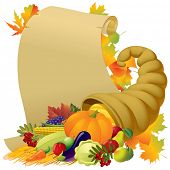 stock photo of horn plenty  - Vector image of a scroll with the Horn of Plenty and vegetables - JPG