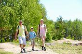Постер, плакат: Портрет трех членов семьи шел дороге летом