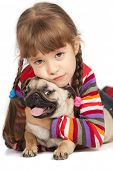 image of cute dog  - Little girl and the Pug - JPG