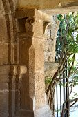 stock photo of filerimos  - Part of the wall of Filerimos monastery Rhodes Island Greece - JPG