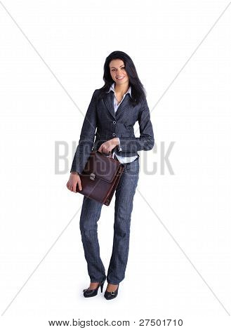 Attractive Business woman holding a briefcase standing on white background