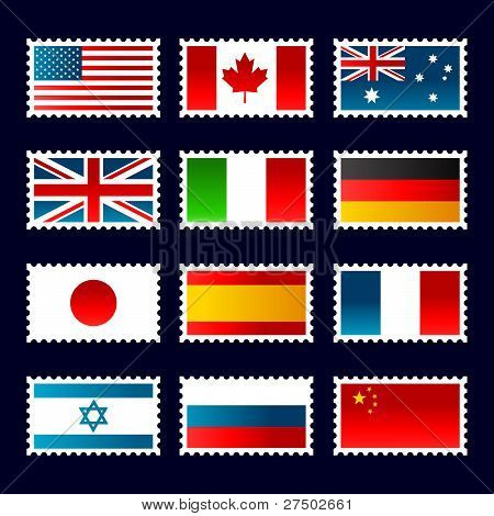 Stamps representing world flags.