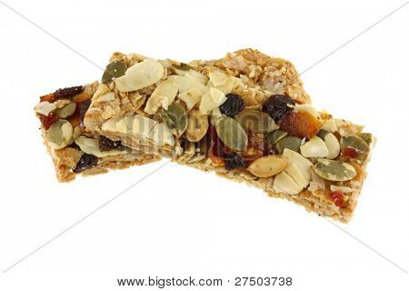 Healthy Snack : Cereal Bars : germinate rice whole grains with fruits, isolated on white