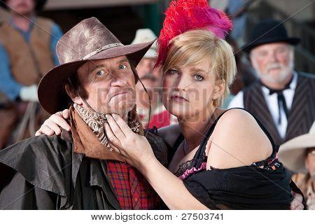 Rugged Cowboy And Bargirl Outdoors