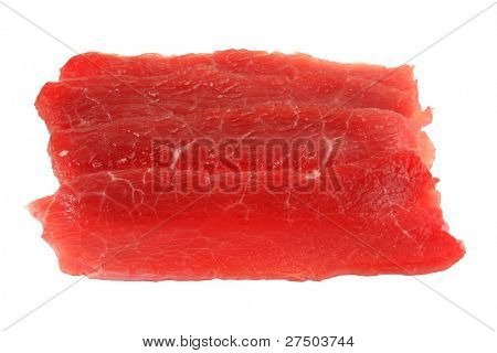 Pieces of paper-thin sliced beef for Shabu Shabu (Japanese Hot pot / Soup), isolated on white background