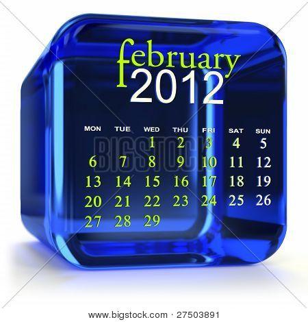 Calendario febrero azul