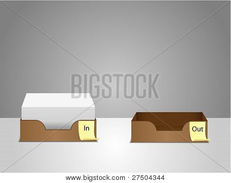 office in/out tray illustration